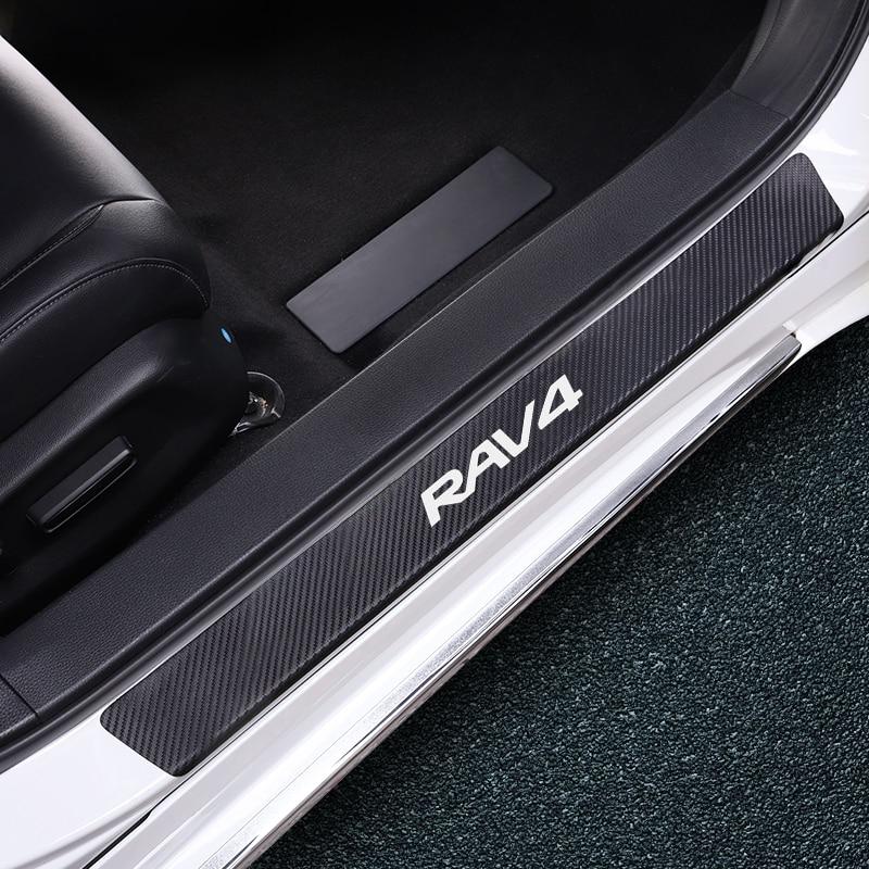 Car Sill Stickers Carbon Fiber Anti-scratch Welcome Threshold Sticker For Toyota Chr Yaris RAV4 Avalon Camry Highlander Fortuner