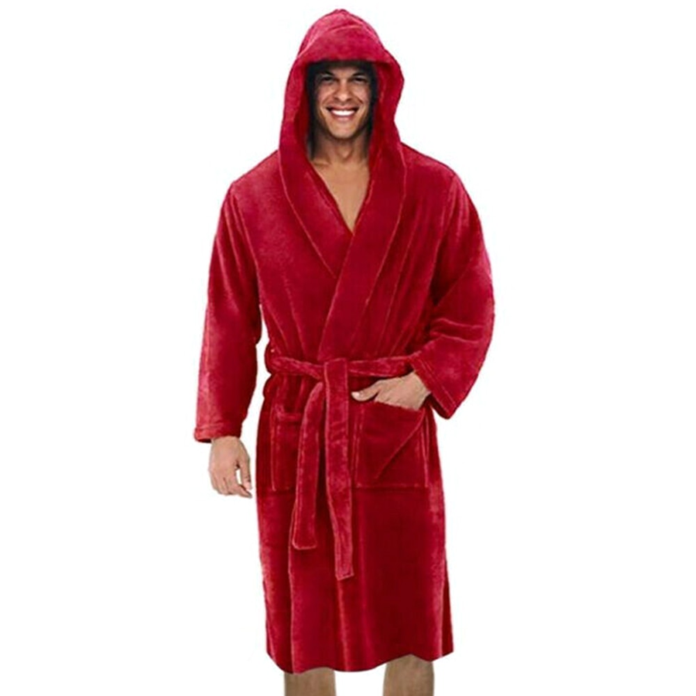 Robe Men Solid Color Bandage Bathrobe Long Sleeve Hooded Robes Male Lounge Wear Dressing Gown Mens S