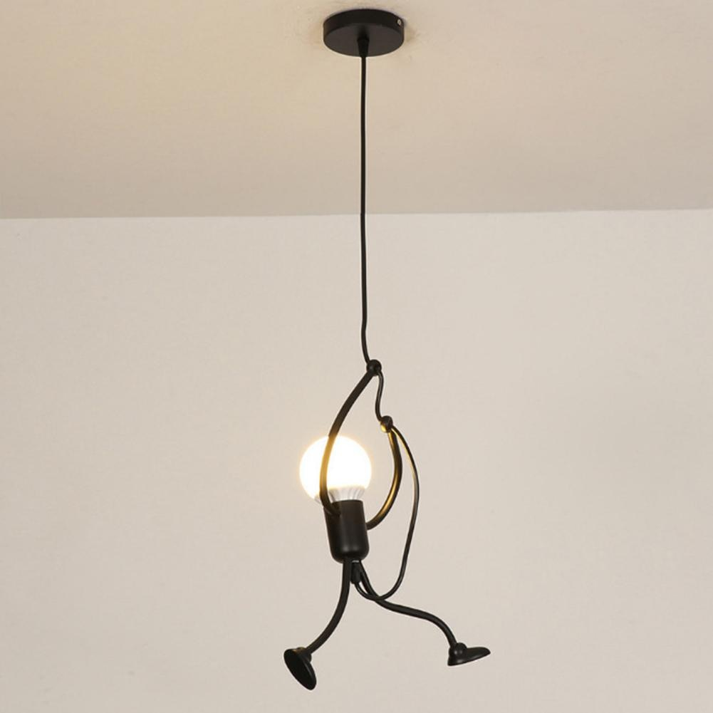 Retro Iron Swing Figure Pendant Lights Metal Hanging Lamp Cafe Restaurant Ceiling Light Lamps Home Decor