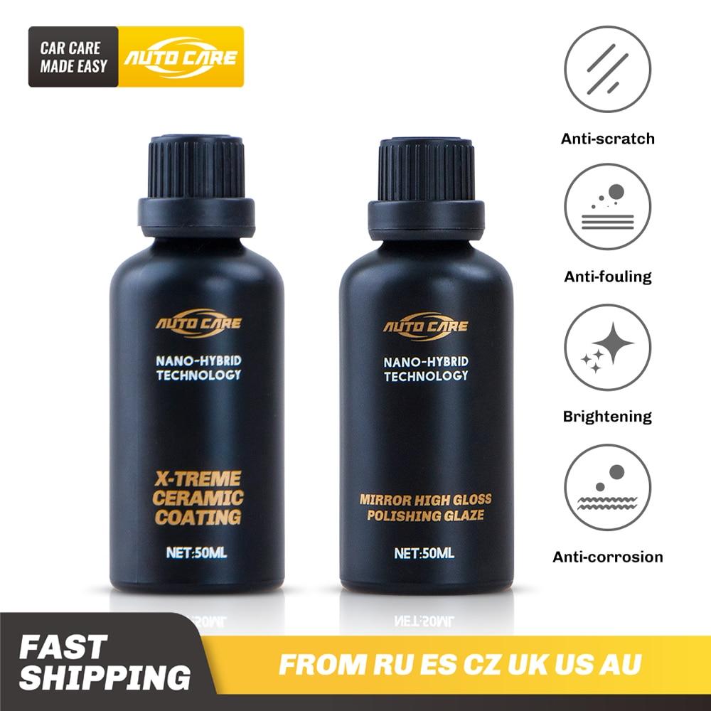 2 pces 50ml 9h revestimento cerâmico alto brilho cuidados com o carro hidrofóbico revestimento auto pintura spray anti incrustação polimento cera