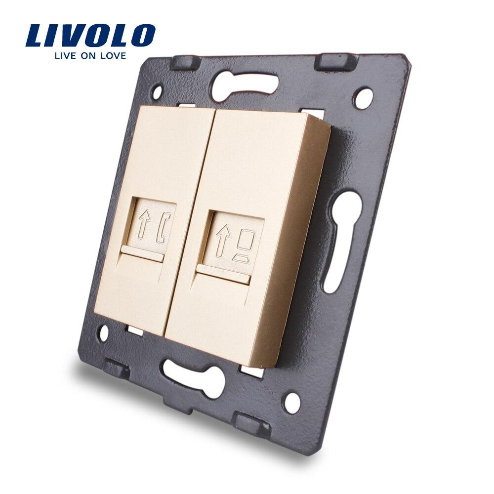 Изготовление Livolo, аксессуары для настенных розеток, основание телефона, компьютерная розетка, ТВ, звук, видео, выход микрофона, золотой цвет