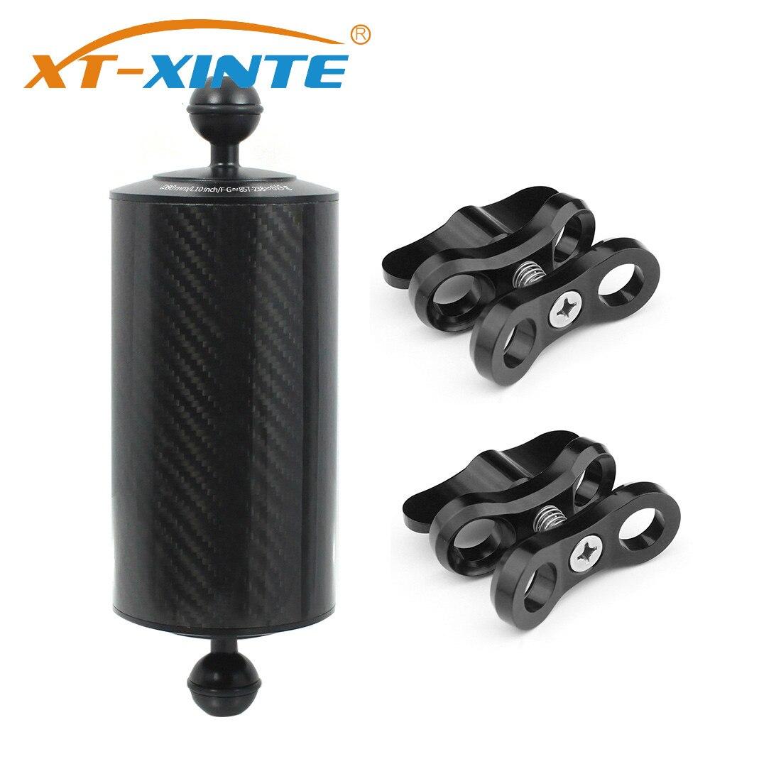XT-XINTE fibra de carbono de doble flotabilidad de bola de flotador acuático D80mm 5/8/10 pulgadas de buceo SLR cámara de luz bandeja de 1 pulgada Clip de batería