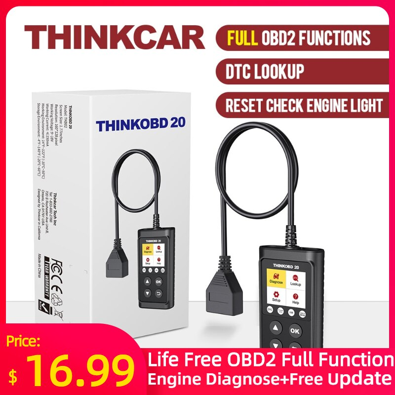 THINKCAR THINKOBD 20 OBD2 Scanner Car Auto Diagnostic Tool Automotivo Code Reader Check Engine Light DTC Lookup thinkcar thinkscan 609 obd2 car scanner engine tcm abs srs full system auto code reader obd 2 scanner automotivo diagnostic tool
