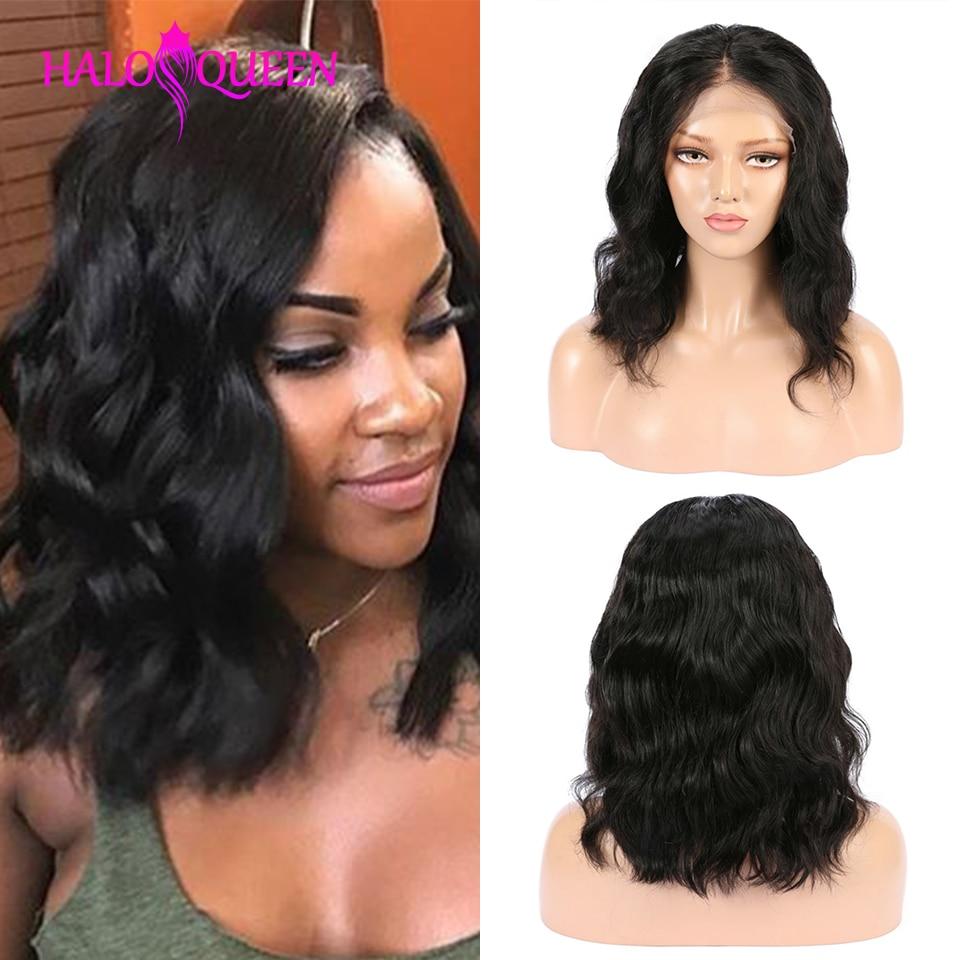 Perruque Body Wave Lace Front wig naturelle brésilienne-HALOQUEEN   Cheveux Remy, 13x4, pre-plucked, mi-longueur