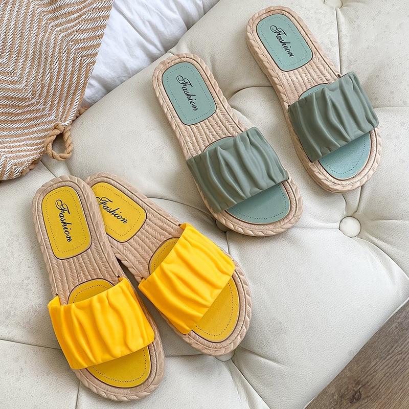 Сандалии женские на танкетке, уличная модная обувь с квадратным носком, плоская подошва, тапочки, лето 2021