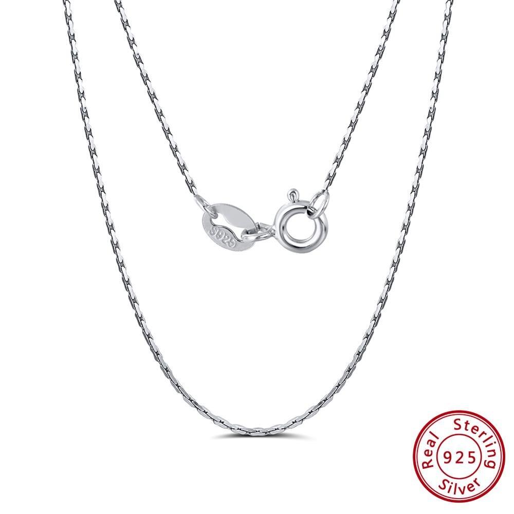 Rinntin, collar de eslabones simples de bambú de Plata de Ley 925 45/50/55cm, cadena fina para mujeres y hombres, joyería de alta moda TSC21