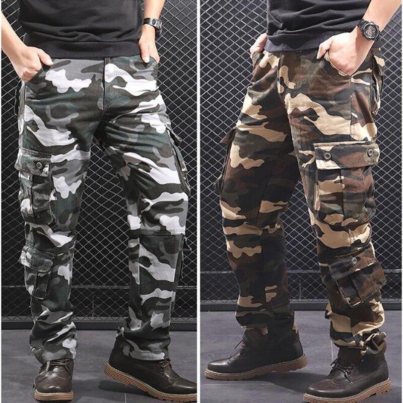 Брюки мужские камуфляжные в стиле милитари, свободные хлопковые армейские штаны, повседневные брюки-карго в стиле хип-хоп, камуфляжные