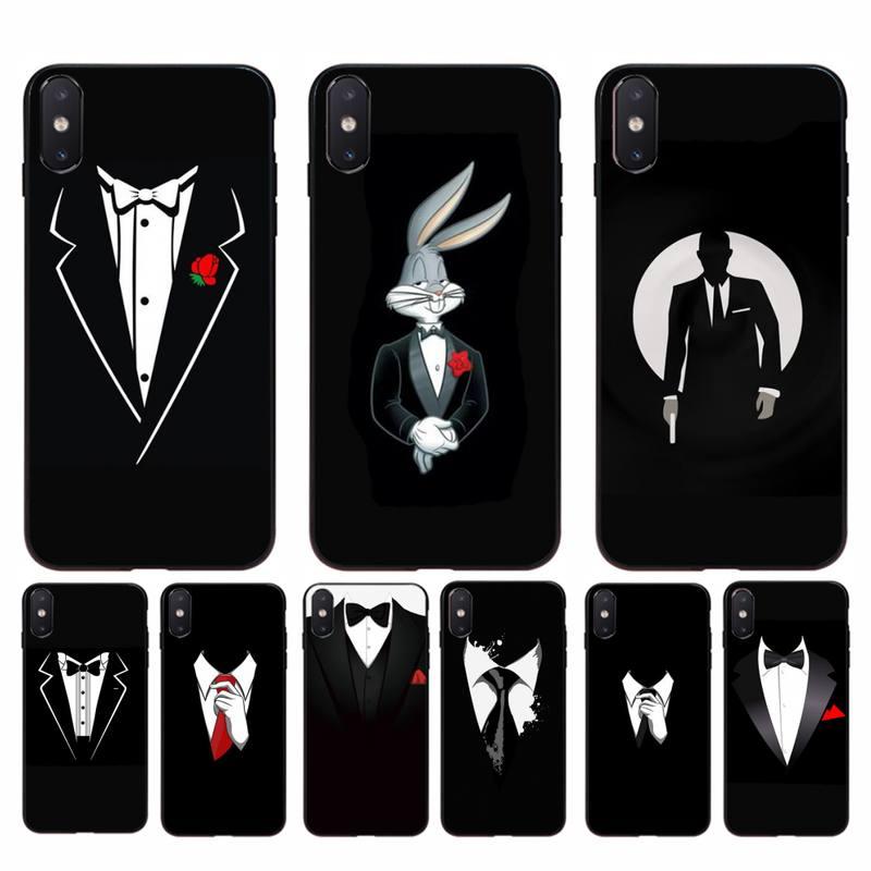 YNDFCNB hombre traje camisa corbata foto personalizada funda de teléfono suave para iphone 11 Pro Max X XS MAX 6 6s 7 8 plus 5 5S 5SE XR SE2020