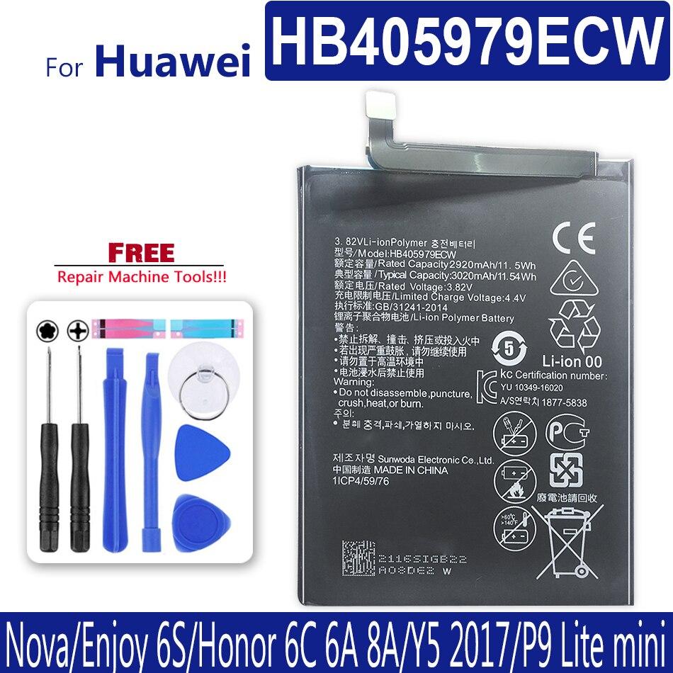 Bateria para huawei y6 3020/y6 pro 2017/honor 6 play 2017 MYA-L11 MYA-L41 l23, MYA-L03 mah l02 l22