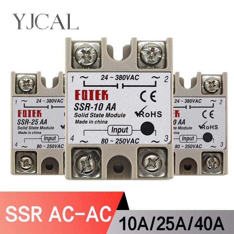 SSR-10AA SSR-25AA SSR-40AA 10A 25A 40A Solid State Relay Module 80-250V Input AC 24-380V AC Output High Quality недорого
