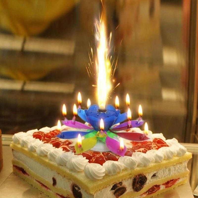 Pastel de música velas de loto velas flores cumpleaños Festival decoración música fiesta de cumpleaños decoración
