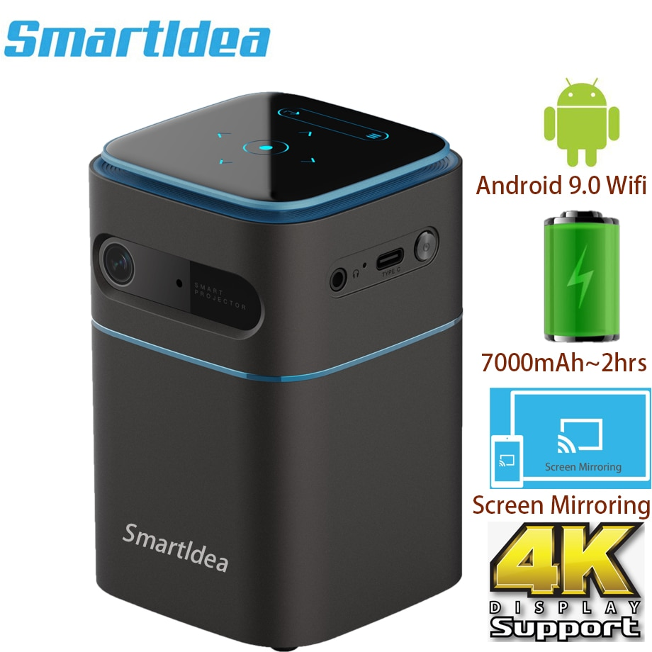 Smartldea-proyector inteligente Pico, dispositivo con Android 9,0, Wifi, 1080P, 4K, compatible con...