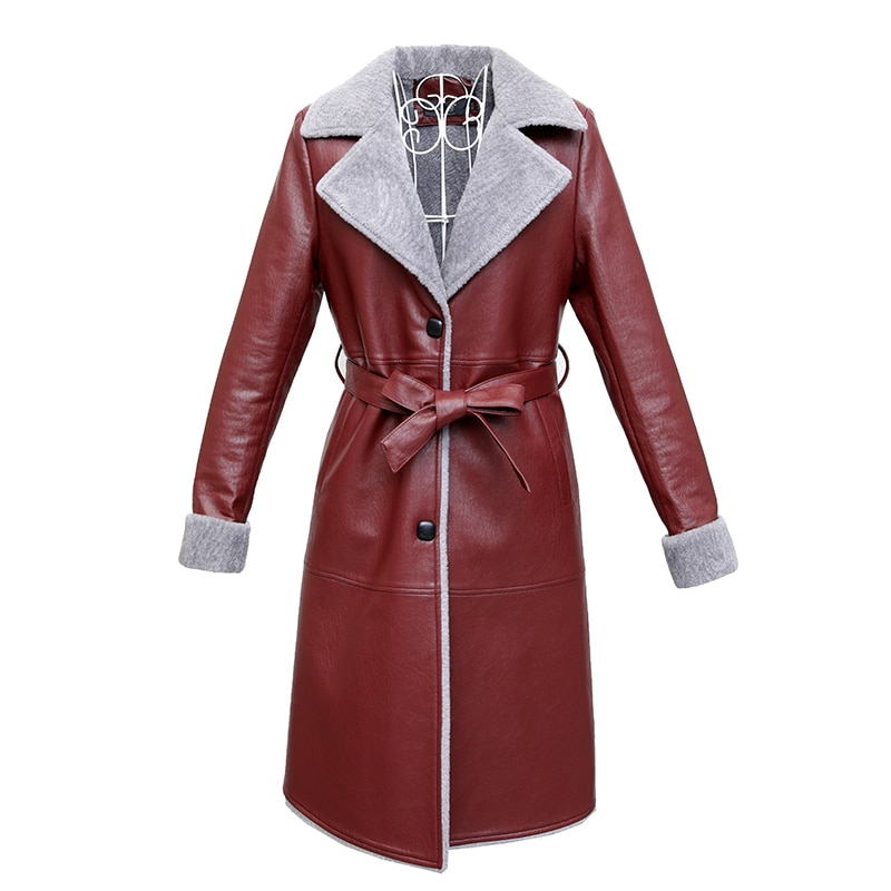 Women Leather Fur Jacket Winter Autumn Plus Size 6XL Fur Leather Jacket With Belt Long Fur Leather Coat Female Warm Outerwear enlarge