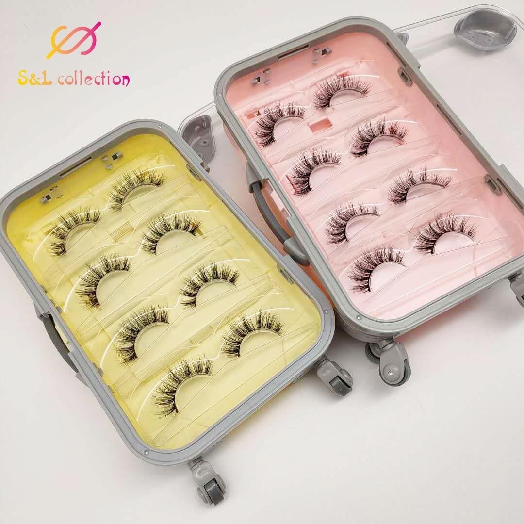 5pcs fashionable luxury false eyelash suitcase empty lash packaging box pink yellow eyelash luggage case