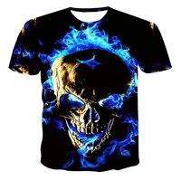 mens 3d skull printed t shirt breathable street clothing splicing t shirt xxs 6xl summer fashion printed short sleeve 2021