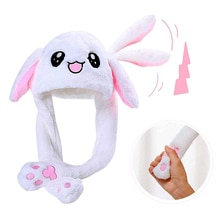 2021 New Rabbit Women's Hat Beanie Plush Can Moving Bunny Ears Hat with Shine Earflaps Movable Ears