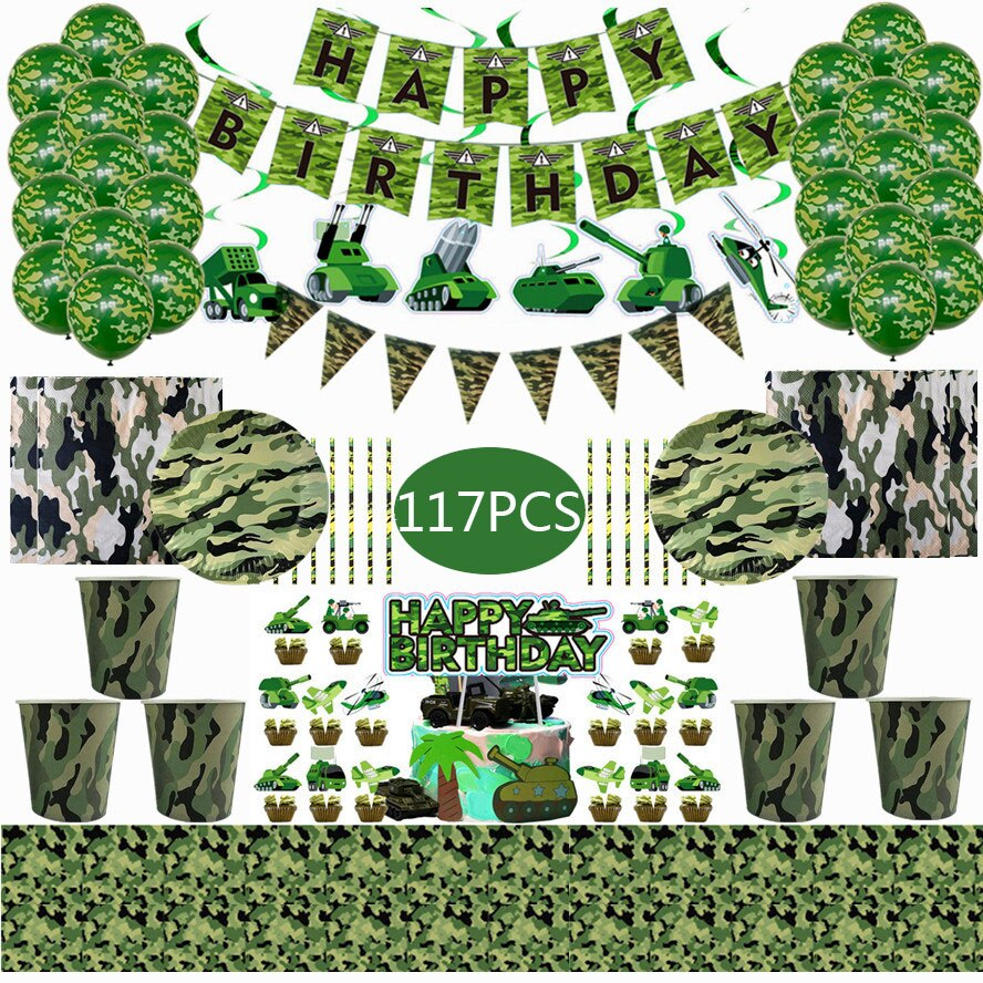 Army Green Camouflage Theme Party Military Decorations Tableware Set Paper Cups Plates Baby Shower Kids Birthday Party Supplies 72pcs mint green with gold confetti cake plates 7 premium quality paper plates wedding bridal shower engagement party supplies