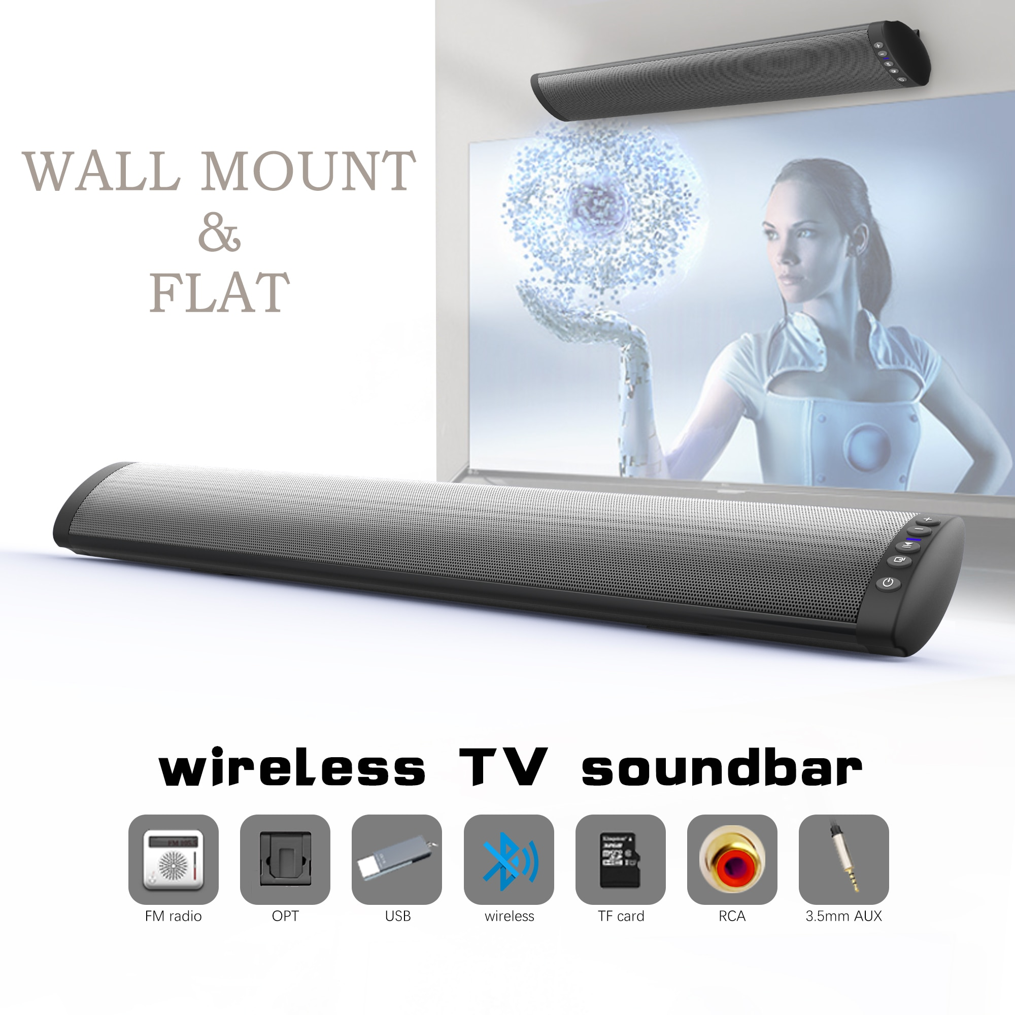 Barra de sonido para TV con cable e inalámbrica 20W, barra de sonido Bluetooth para PC, Altavoz bluetooth, altavoz inalámbrico, sistema de cine en casa