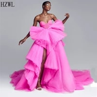 2020 new arrival fuschia sweetheart ball gown prom dresses tiered ruffles evening dresses vestidos de fiesta custom made