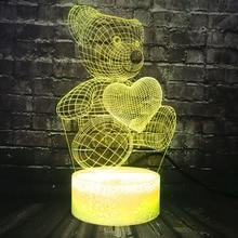 Petite lampe en forme dours en forme de cœur en peluche 3D LED USB lampe colorée tactile atmosphère veilleuse enfants amoureux enfant cadeaux de noël