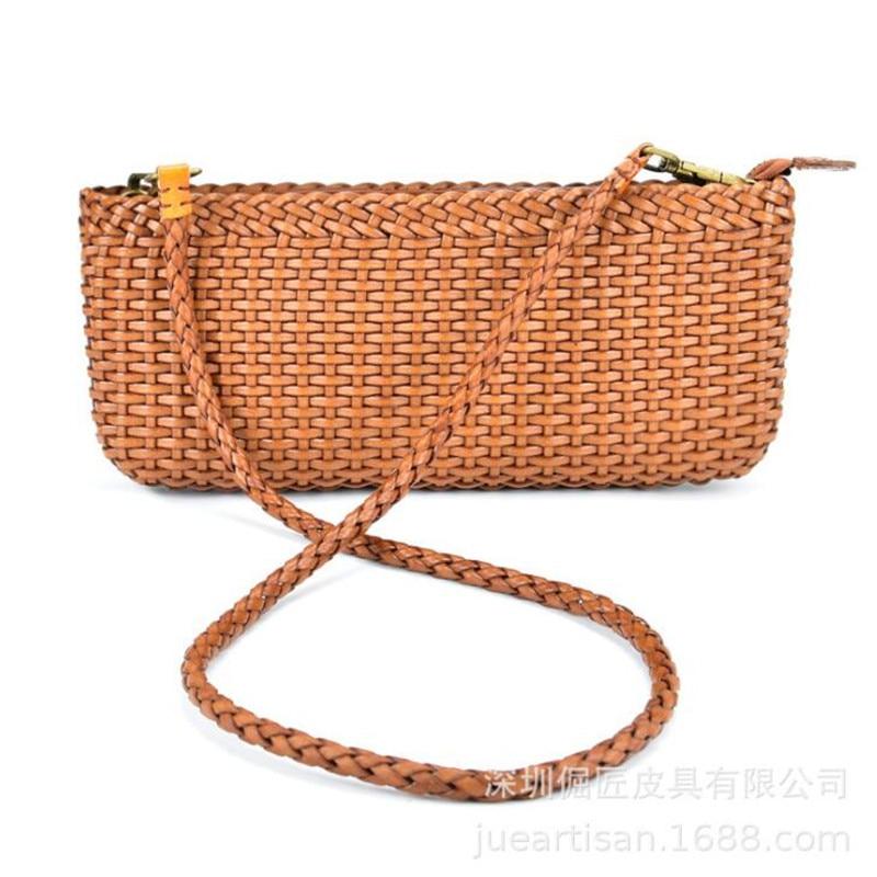 حقائب جلدية منسوجة الطبقة الأولى جلد البقر حقيبة صغيرة الكتف رسول حقيبة صغيرة