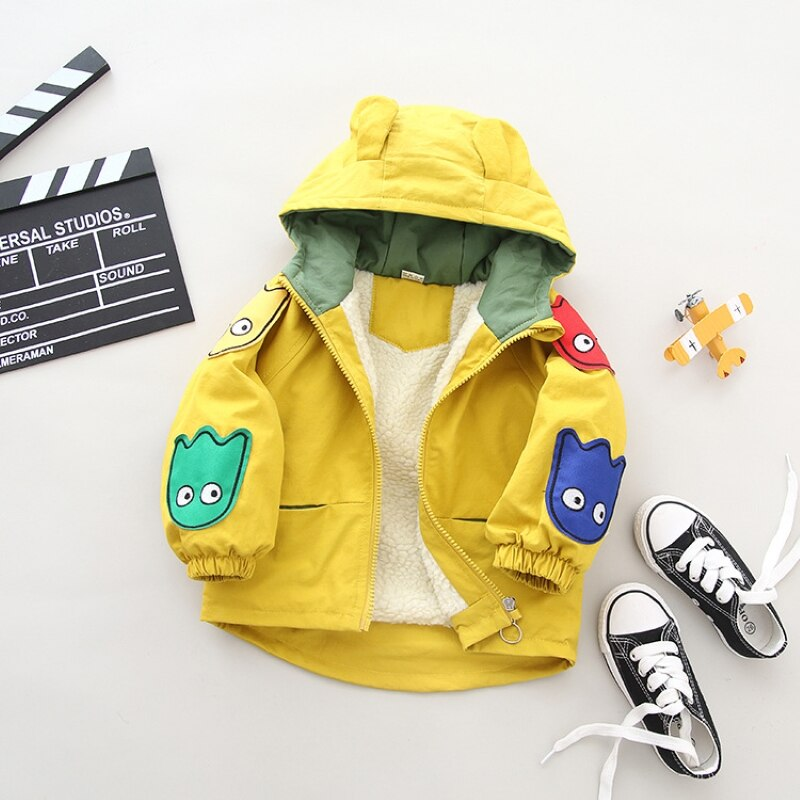 Abrigo para bebés de 0 a 5 años de edad, chaqueta de otoño e invierno para niños, chaqueta gruesa coreana para niñas, chaqueta de terciopelo con dibujos animados, Comercio Exterior