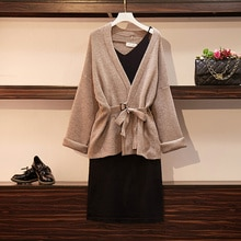 Large Size Autumn and Winter New Western Style Slimming Suit Vintage Sweater Cardigan with Strap Dre