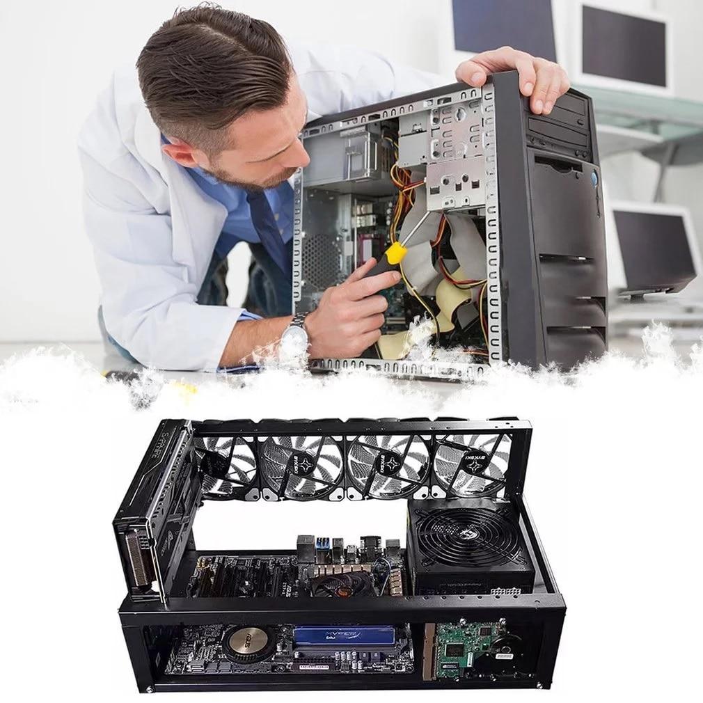 Steel Open Air Miner Mining Frame Rig Case Up to 6 GPU for Bitcoin Crypto Coin Currency Mining Digital currency Virtual New enlarge