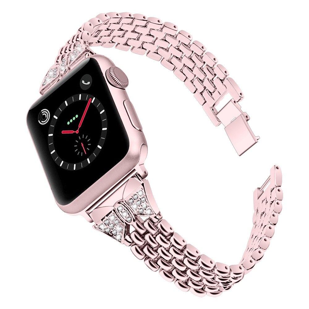Oro rosa diamante correa de acero inoxidable para Apple watch 5 4 banda 42mm 38mm iwatch 5 3 banda 44mm 40mm metal correa de reloj pulsera