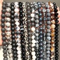 black agates hematite jespers round beads for jewelry making needlework diy bracelet necklace accessories wholesale 15 perles