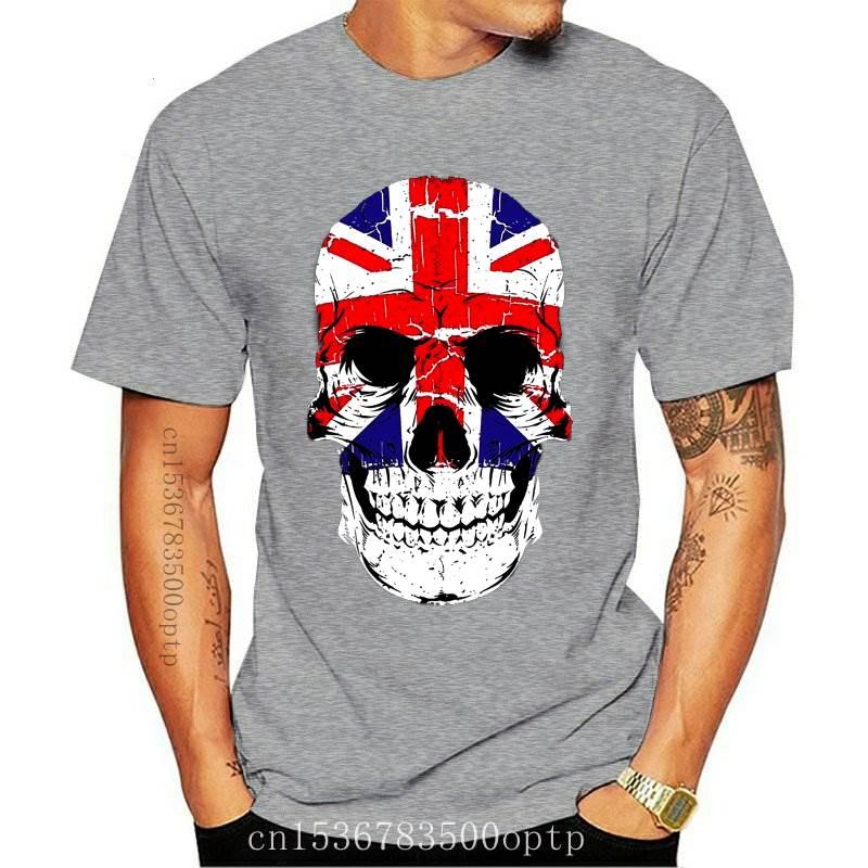 New Velocitee Mens UK Skull T Shirt Union Jack Flag GB Scary Horror Evil Goth V16