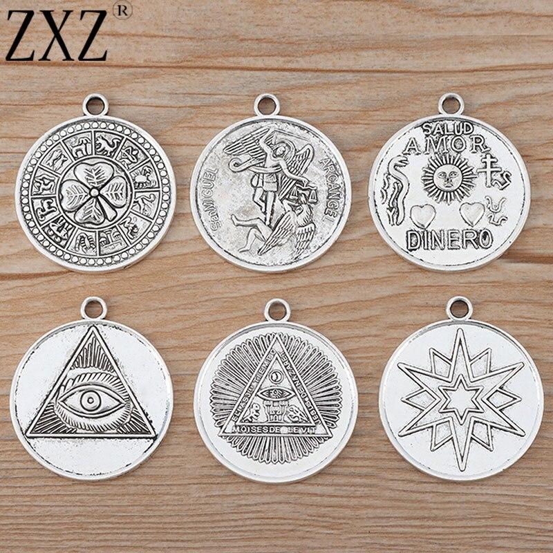 ZXZ, 5 uds., pentagrama de tetragrama grande, estrella de cinco puntas, abalorios redondos, colgante para collar, accesorios para fabricación de joyas, 35mm