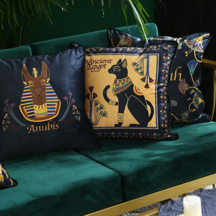 Americano capa de almofada decorativa caso travesseiro artístico gato egípcio tipo luxo veludo borla sofá cadeira cama coussin