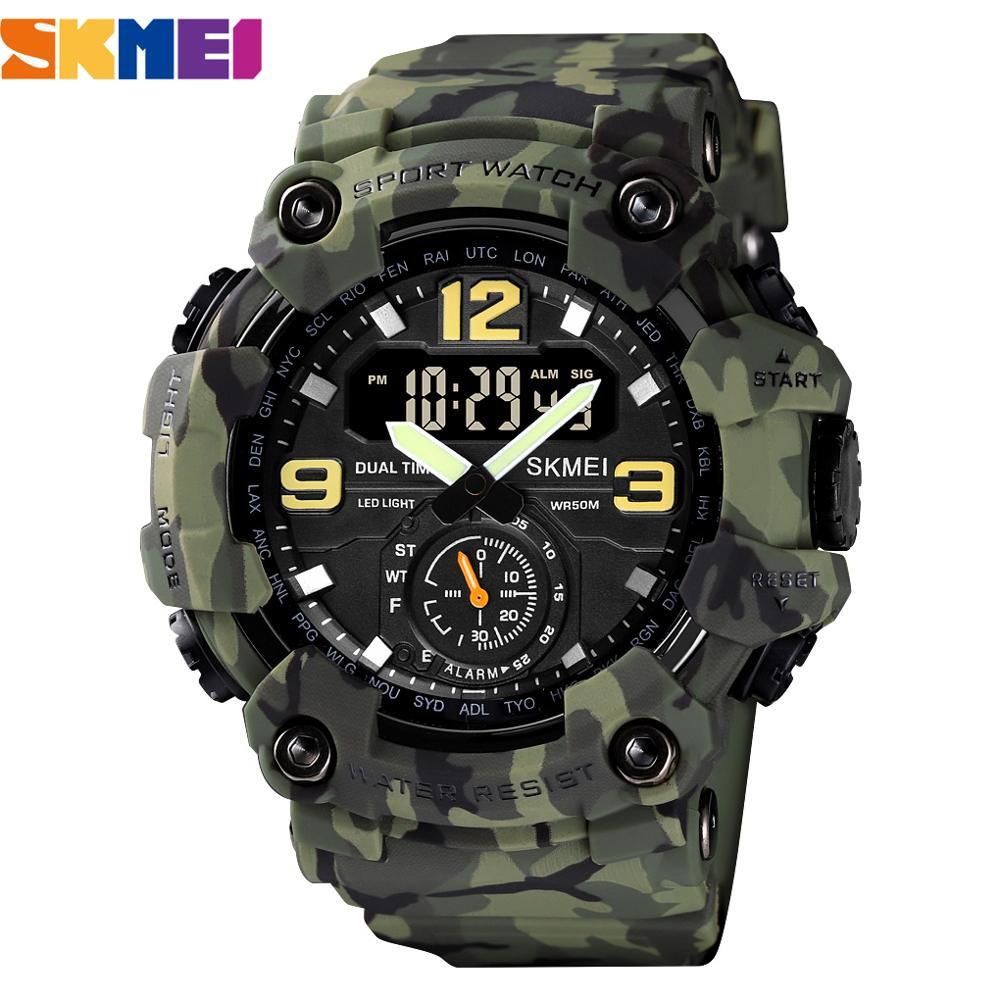 Vintage Men Military Watch 50m Waterproof Wristwatch SKMEI Top Brand Casual Sport Style Digital Clock PU Leather Band Watch Men