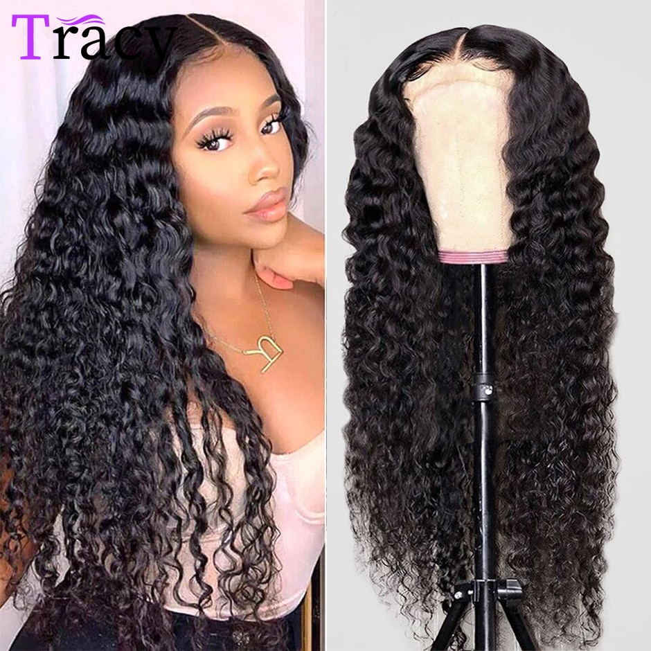 Deep Wave Closure Wig Human Hair Lace Frontal Wigs 250% Density Lace Front Wig Pre Plucked Remy 4x4