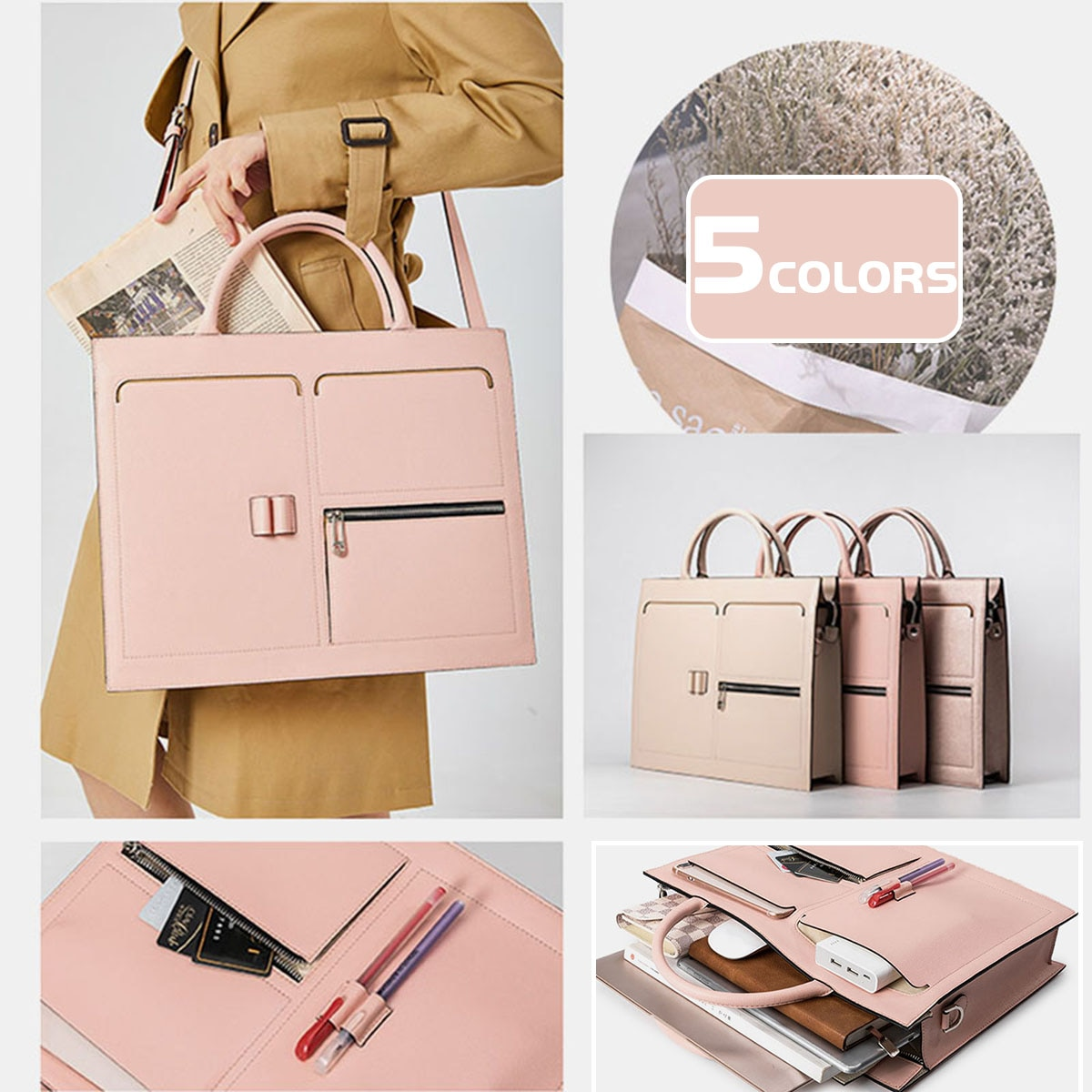 Luxury Leather Women Laptop Bag Notebook Carrying Case Briefcase for 13.3inch Computer Multifunction Handbags Shoulder Bag Totes