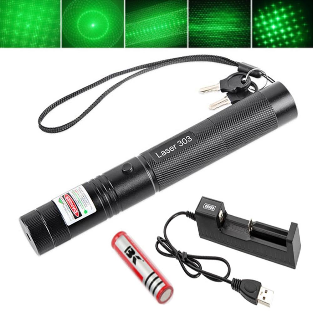 Охотничий зеленый лазерный прицел, лазерная указка 5 мВт, 532 нм, высокомощный лазер с регулируемым фокусом 303