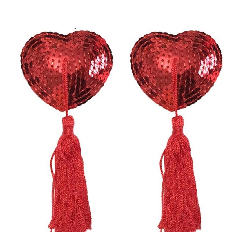 New Hot 1 Pair Sexy Pasties Stickers Women Lingerie Sequin Tassel Breast Bra Nipple Cover Pad Heart Womens Pasties