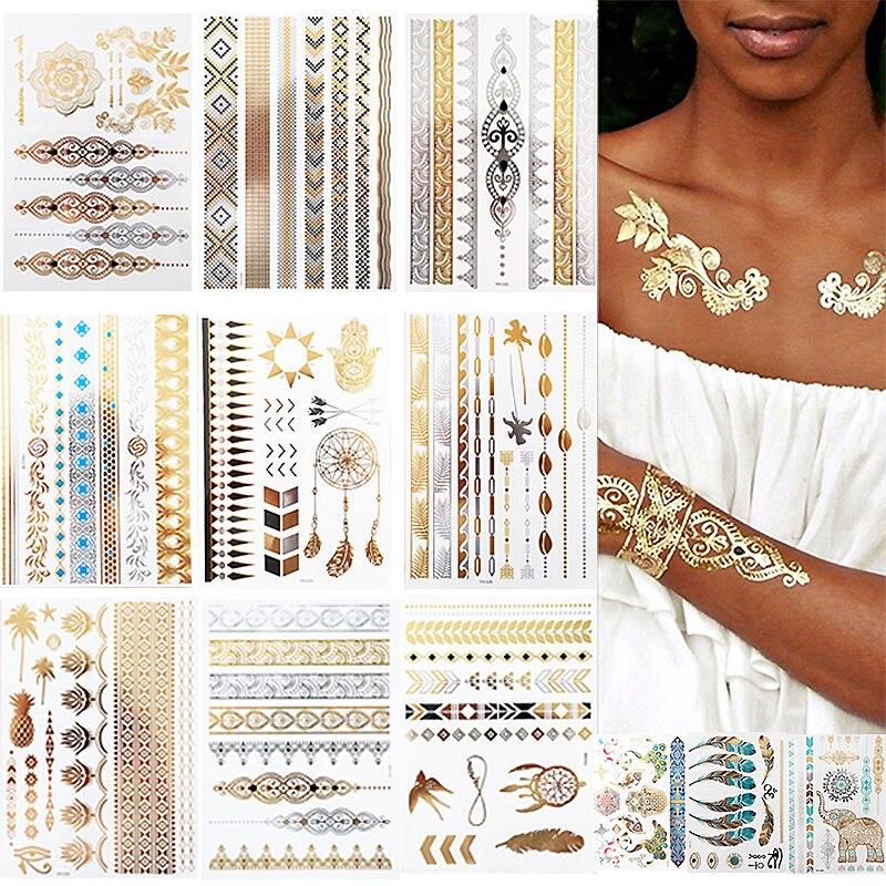 12 Sheets Metallic Temporary Tattoos Gold Boho Waterproof Flash Fake Tattoo Sticker Designs for Women Girls