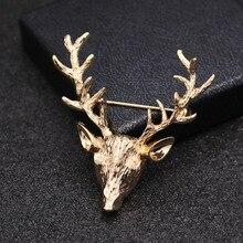 I-remiel coréen rétro Elk broche broche Original cerf tête broches et broches pour femmes et hommes costume chemise col accessoires
