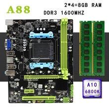 A88 motherboard set kit mit FM2 FM2 + AMD A10-6800K CPU 8G(2*4G) 1600MHz DDR3 PC desktop RAM Micro-ATX Integrierte Grafik