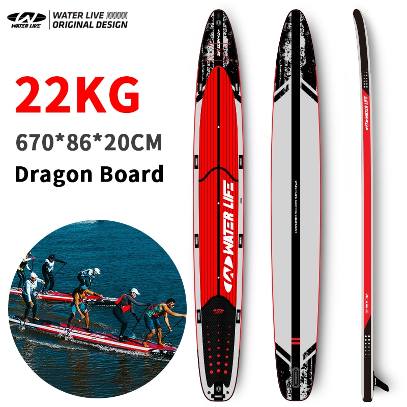 WATER LIVE Dragon 6.7m Inflation Surfboard 4 Person Team Competition Paddle Board Pointed Design Fast Fluent Water Surfboard