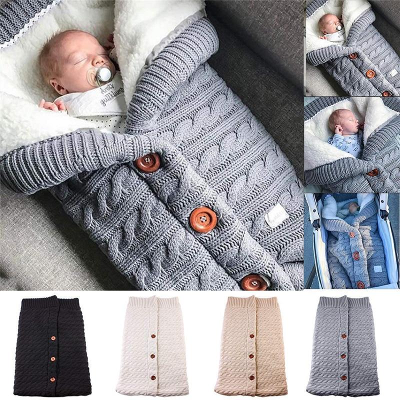 Manta para dormir recién nacido sacos de dormir calientes de invierno botón infantil de punto envoltura para envolver cochecito envolver manta para niño