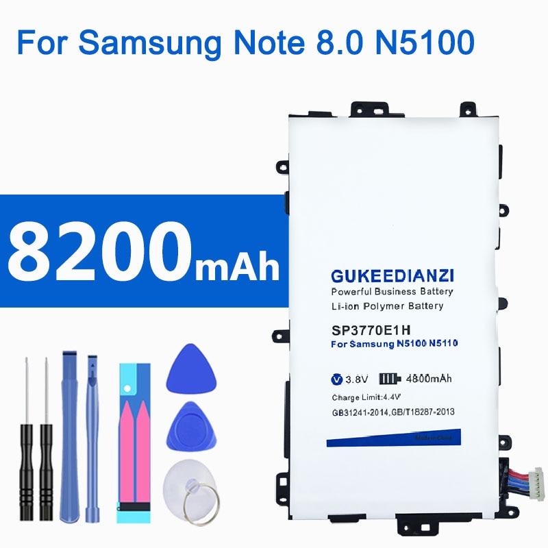8200 мАч SP3770E1H литий-ионный аккумулятор для планшета Samsung Galaxy Note 8,0 GT N5100 N5110 N5120 литий-полимерные аккумуляторы