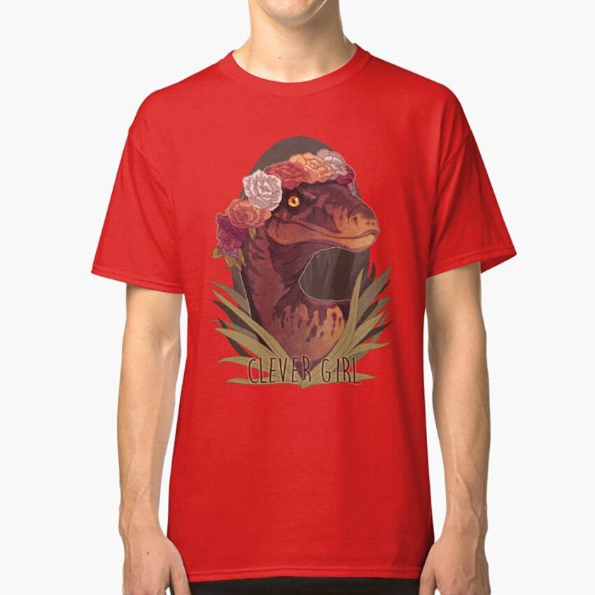 Camiseta inteligente para niña, dinosaurio Velociraptor, corona floral, Fanart