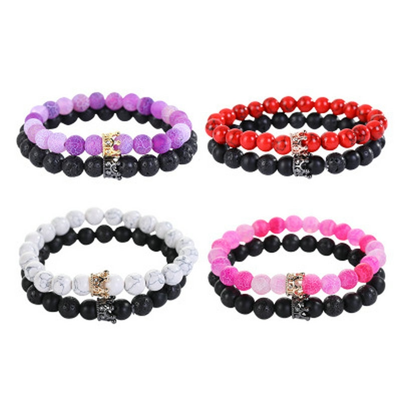 Charm Natural Stone Bracelet Crown Black Lava Matte Beaded Bracelets Handmade Men Women Prayer Fitness Chain Couple Jewelry Gift