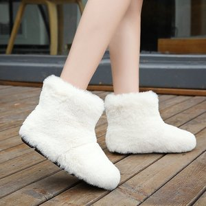 2020 Women Boots Warm Plush Round Head Snow Boots Winter Female Shoes Fashion Slip-On High Heels Comfort Black Boots