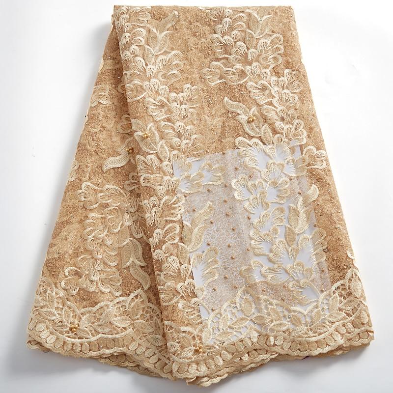 أقمشة الدانتيل الأفريقي عالية الجودة التطريز الأنسجة Broderie Tissued الفرنسية مطرز أقمشة الدانتيل لفستان الزفاف الخياطة 2401A
