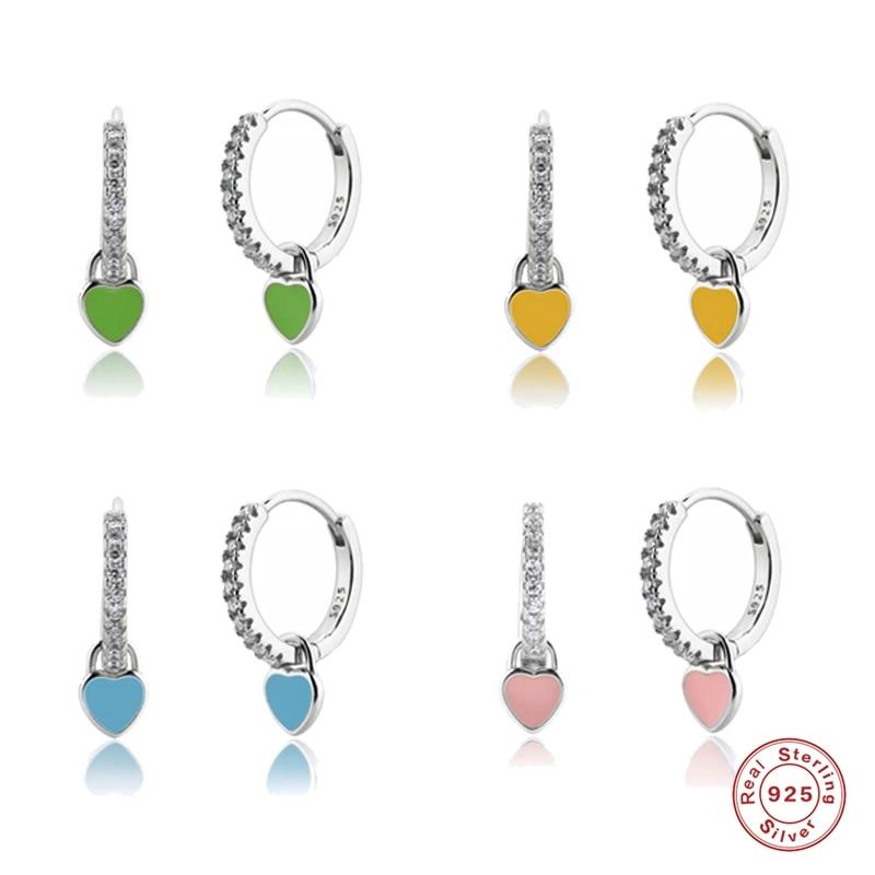 aide-925-стерлингового-серебра-Обручи-earrrings-милые-украшения-в-виде-цветов-Женские-туфли-Прекрасный-в-форме-сердца-эмали-в-форме-сердца-Серьги-С
