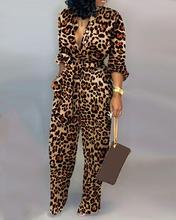 Monos de manga larga con cintura atada de leopardo para mujer